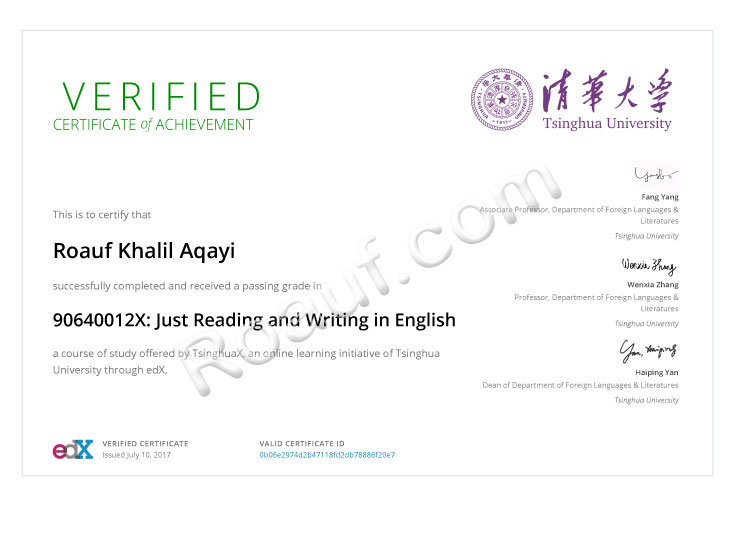 LANGUAGE / TRANSLATION Certificate