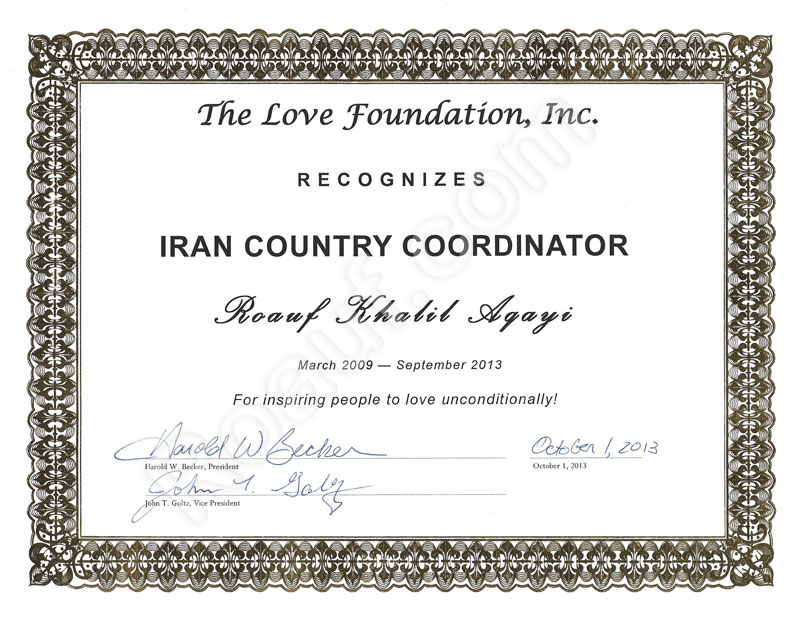 Iran country coordinator of the American humanitarian organization of The Love Foundation