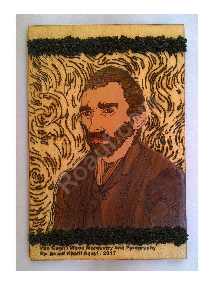 Wood Inlay / Wood Marquetry and Pyrography Panel of Van Gogh