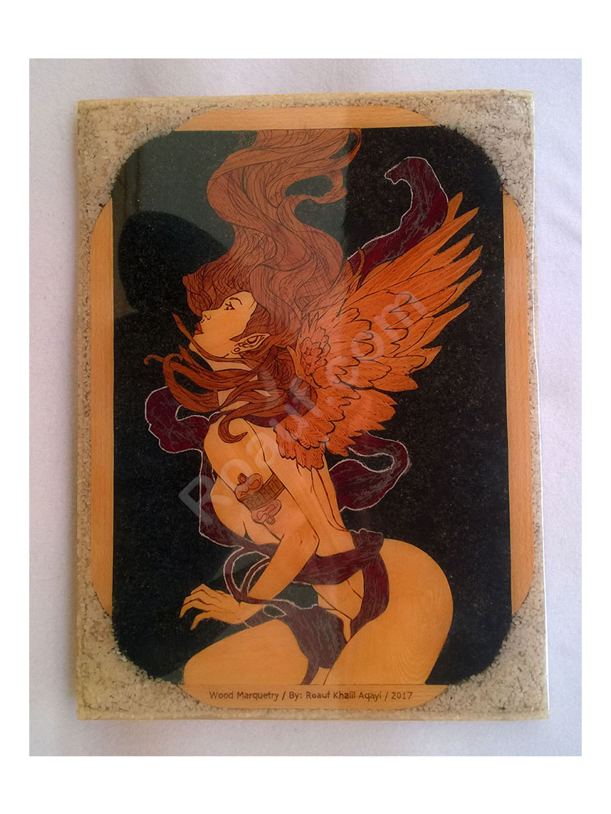 Wood Inlay / Wood Marquetry Panel of a Naked Angel