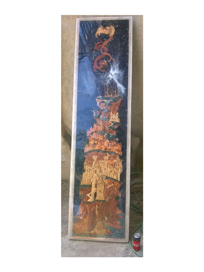 Wood Inlay / Wood Marquetry Panel of Mountain Village and Dragon